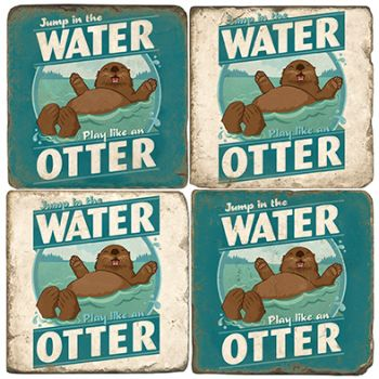 Water Otter Italian Marble Coasters and Giftware
