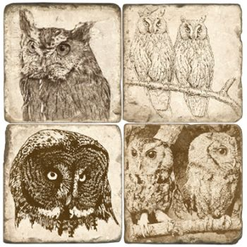 Owls Italian Marble Coasters and Giftware