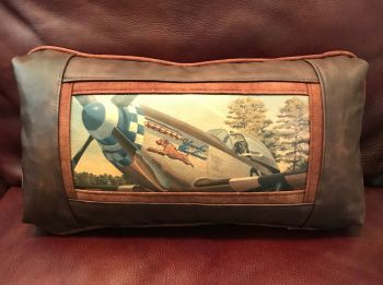 P-51 with Black Lab Custom Leather Pillow
