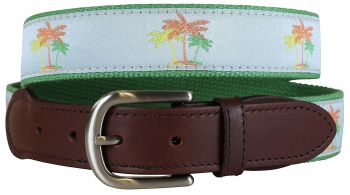 Palm Trees leather Tab Belt by Belted Cow