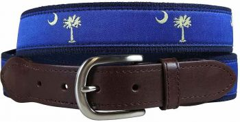 Belted Cow Palmetto Tree and Crescent Moon leather Tab Belt