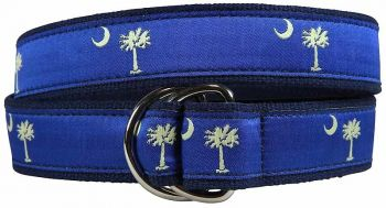Palmetto Tree and Crescent Moon D Ring Belt by Belted Cow
