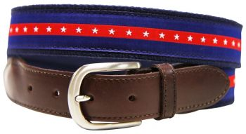 Patriotic Stripes Leather Tab Belt by Belted Cow