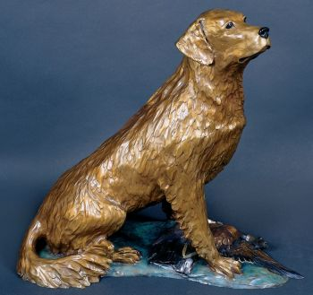Patterns of the Fall is a bronze sculpture of a Golden Retriever by Christopher Smith