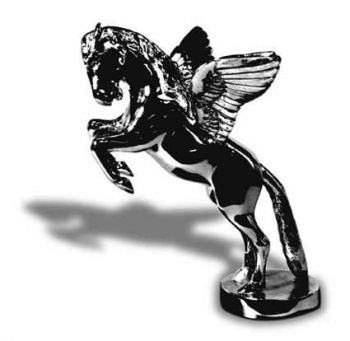 Pegasus Hood Ornament or Car Mascot by Louis Lejeune comes in chrome, bronze, enamel or gold plated