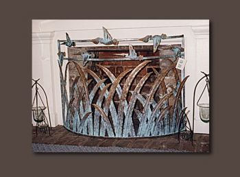 Marsh Grass with Pelicans metal firescreen by John Boyd Smith