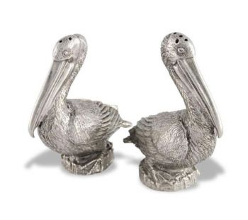 Pelican pewter salt and pepper set