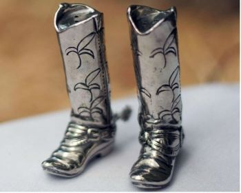 Pewter Cowboy Boot salt and pepper set by Vagabond House