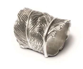 Pewter Feather Napkin Ring by Vagabond House