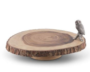 Pewter owl on acacia wood cheese stand