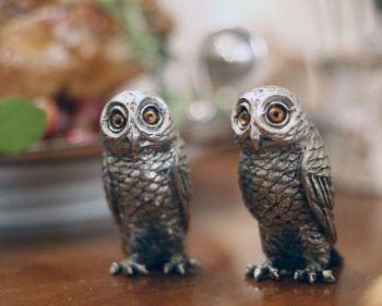 Pewter owl salt and pepper set by Vagabond House
