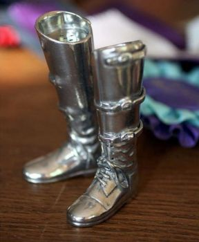 Pewter riding boot salt and pepper set by Vagabond House