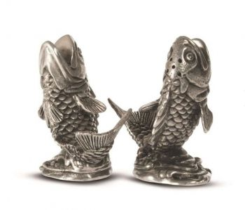 Pewter salmon salt and pepper set by Vagabond House