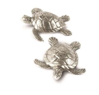 Pewter sea turtles salt and pepper set by Vagabond House