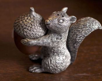 Pewter squirrel with acorn salt and pepper set by Vagabond House