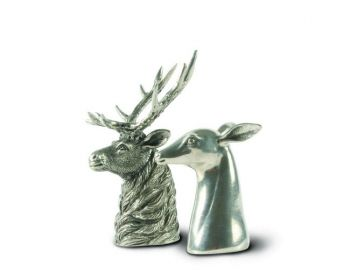 Pewter stag and does salt and pepper set by Vagabond House