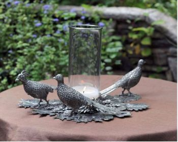 Pewter Pheasant centerpiece by Vagabond House