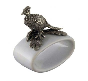 Pewter pheasant on stoneware napkin ring by Vagabond House