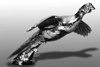 Pheasant Gliding Hood Ornament or Car Mascot by Louis Lejeune comes in chrome, bronze, enamel or gold plated