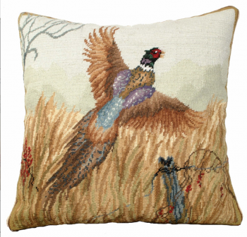 Pheasant in Flight Needlepoint Pillow by Michaelian Home
