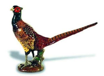 Pheasant Standing Hood Ornament or Car Mascot by Louis Lejeune comes in chrome, bronze, enamel or gold plated