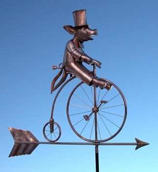 Pig on Bike with Bird Copper Weathervane