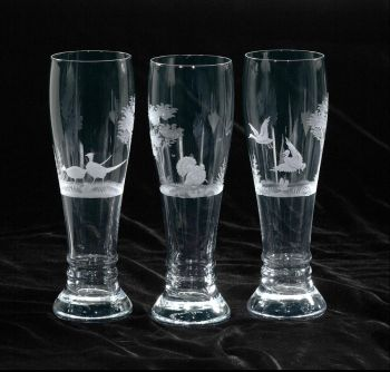 24 oz. Pilsner Glass - Queen Lace Crystal - Hand-engraved Crystal, Kenyan or American Wildlife Series