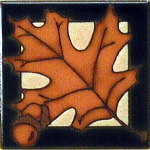 Pin Oak Leaf Ceramic 4 x 4 Tile by Maanum