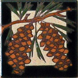 Pine Cone Ceramic 4 x 4 Tile by Maanum