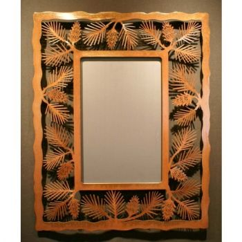 Pine Cone framed rustic metal mirror by Steel Appeal