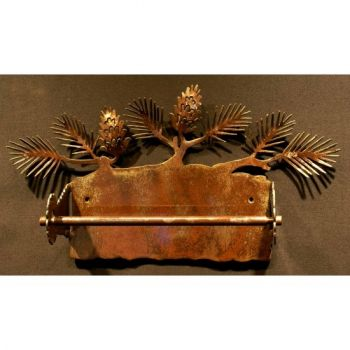 Pine Cone rustic metal paper towel holder by Steel Appeal
