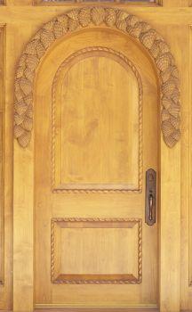 Pine Cones hand-carved wood door by Larry Lefner