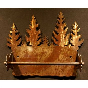 Pine Tree rustic metal paper towel holder by Steel Apeal