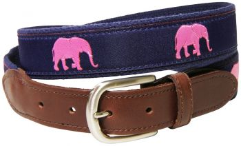 Pink Elephant Leather Tab Belt by Belted Cow