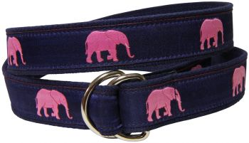 Pink Elephant D-Ring Belt by Belted Cow