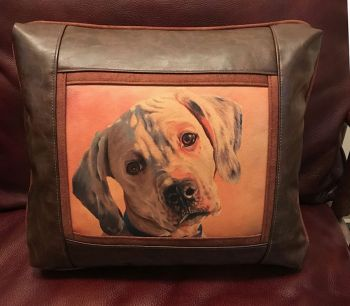 Plantation Puppy Leather Pillow