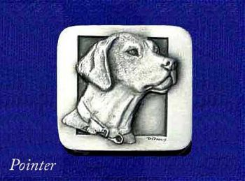 Pointer sculptured pewter buckle by the Art of Lou DePaolis