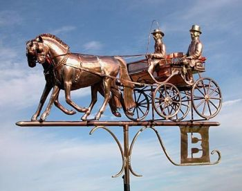 Ponies nd Carriage Copper Weathervane by Barry Norling