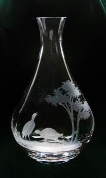 40 oz. Wine Decanter- Queen Lace Crystal - Hand-engraved Crystal, Kenyan or American Wildlife Series