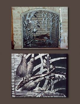 Quail Hunting Scene Metal Firescreen by John Boyd Smith