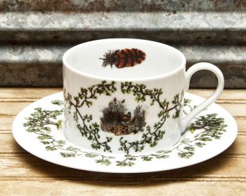 Quail in the Bush Cup and Saucer Plantation China by WM Lamb and Son