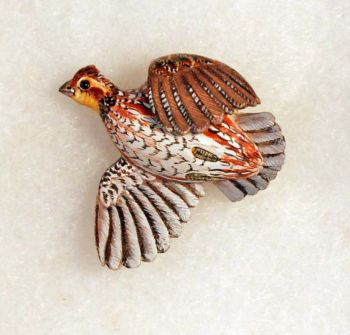 Bobwhite Quail Hand-Carved Wood Pin by Dick Cook