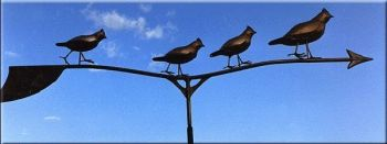 Quail Family Copper Weathervane by Barry Norling