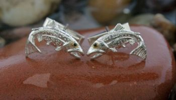 Rainbow trout Cufflinks by Tight Lines Jewelry
