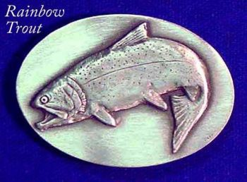 Rainbow Trout Sculptured pewter buckle by Lou DePaolis