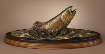 Rainbows Run Bronze Sculpture of a Rainbow Trout by Dan Genord