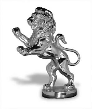 Lion Rampant Hood Ornament or Car Mascot by Louis Lejeune comes in chrome, bronze, enamel or gold plated