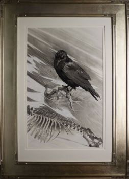 Darkness There and Nothing More framed graphite charcoal drawing by Cole Johnson