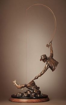 Reach - a bronze sculpture of a fly fisherman's catch by Dan Genord