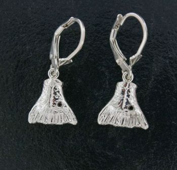 Redfish Tail with Black Diamond Dangle Earrings